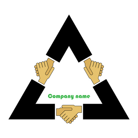 Illustration, sumbol, concept. Tripartite agreement.  Vector