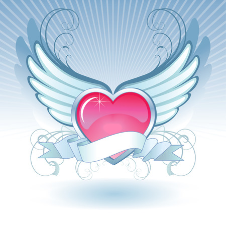 perspiration: Abstract composition of a heart with wings. Image lies on different layers. Illustration