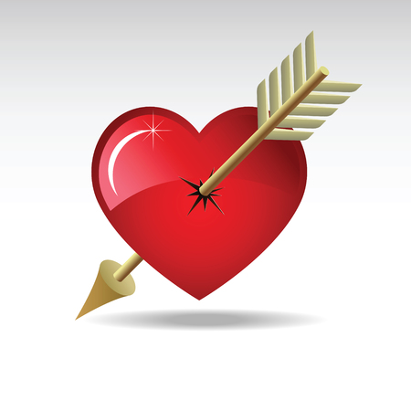 Abstract composition with a heart and arrow. The image is composed of layers.  Vector