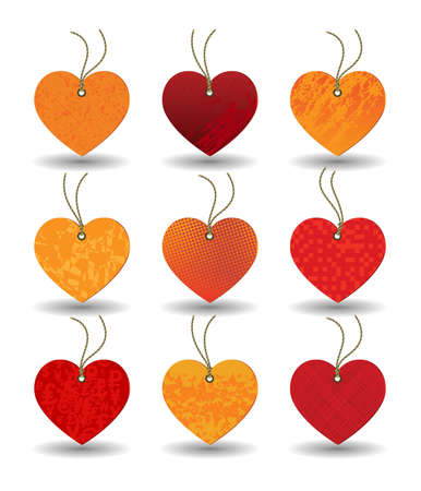 A set of tags in a heart shape with different textures on a white background. Vector
