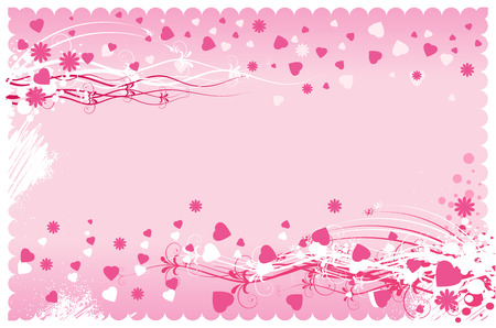 Composition with pink hearts on a pink background. Vector