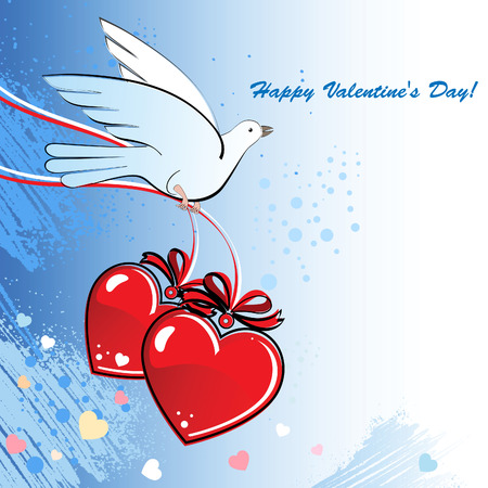 holidays for couples: Pigeon with two lovers hearts Illustration