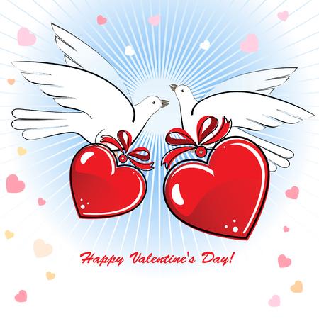 Composición con dos palomas y corazones para el día de San Valentín o una boda.  Foto de archivo - 8669072