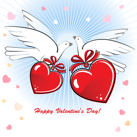 Composition with two doves and hearts to the Valentines Day or a wedding.  Vector