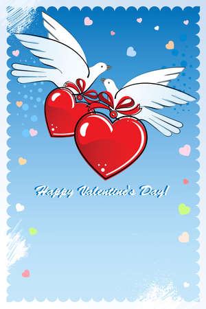 Composition with two doves and hearts to the Valentines Day or  wedding.  Vector