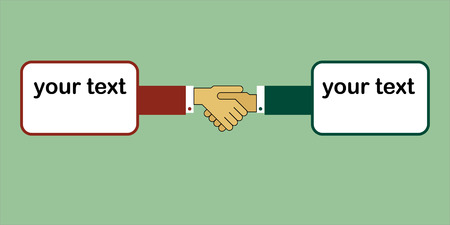Symbol and concept. Handshake - two hands and a place for text.  Vector