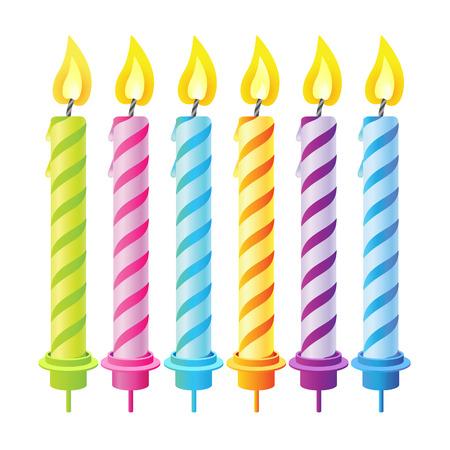 velas de navidad: Conjunto de seis velas para la fiesta para la decoraci�n. Vectores