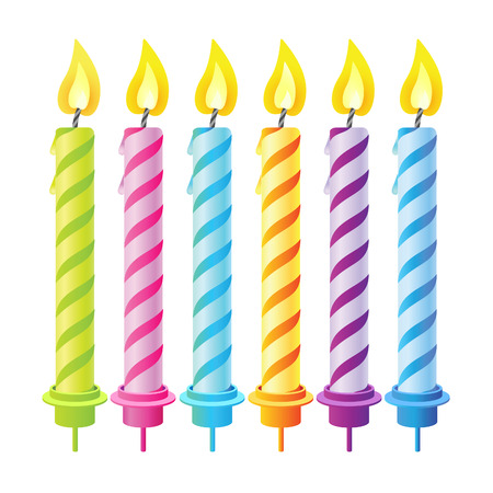Set of six candles for the holiday for decorating. Vector