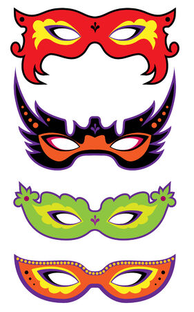intrigue: A set of four masks for celebration and carnival.