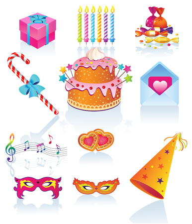 Set symbol for the holiday: birthday, Valentines Day, anniversary, festival.    Vector