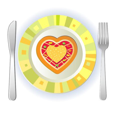 pranks: Heart on a plate. Joke for the day of lovers.  Illustration