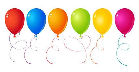 inflar: Conjunto de seis bolas de colores diferentes para las vacaciones y decoraci�n.