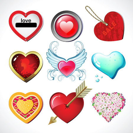 Set  hearts of Valentines Day.  Vector