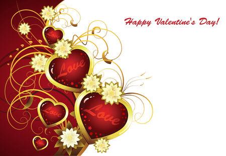 deseos: Saludo tarjeta feliz de San Valent�n. Corazones rojos sobre fondo rojo con espacio para texto Vectores