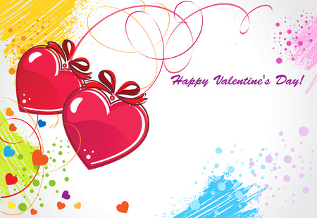 Greeting card, red hearts on a colored background. Vector