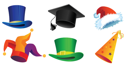 Set of six hats for a holiday, parades, Carnival, Christmas and New Year. Vector