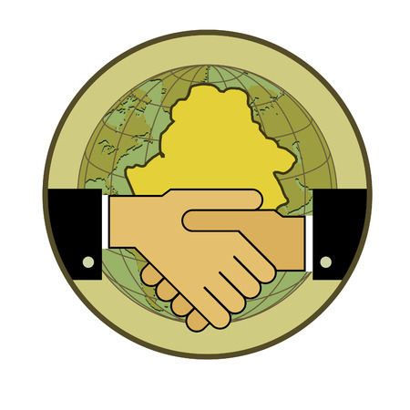 bilateral: Symbol-concept. Handshake - two hands, and the contour of the Republic of Belarus