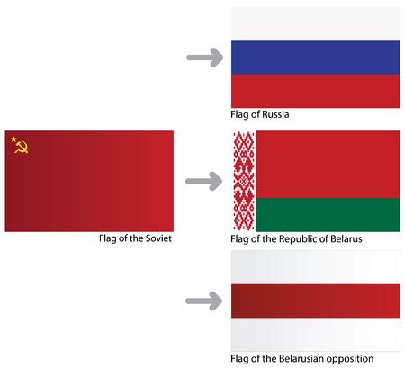 dictatorship: A set of flags: Soviet Union, Belarus, Russia, opposition of Republic of Belarus