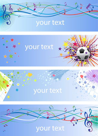 Banners with abstract compositions and place for text  Vector
