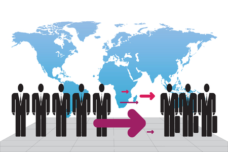 migrant: Schematic illustration of human immigrants