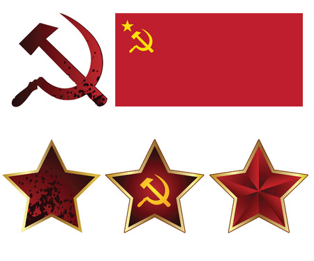 memoir: Character set of the USSR. Red star red flag, hammer and sickle.
