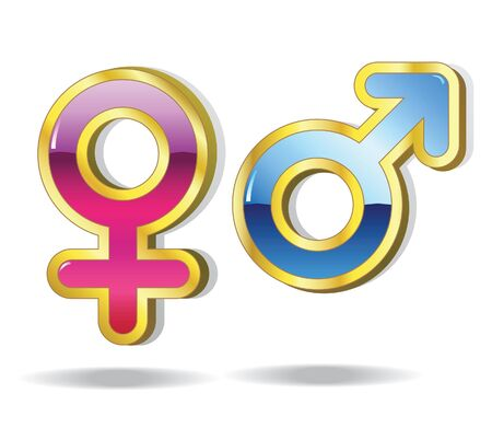 Set of gender symbols. Male and female. Vector. Stock Vector - 9159102