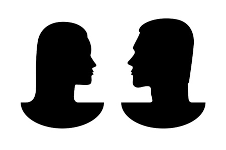 Profile of men and women. Symbol sign. Vector.  Ilustracja