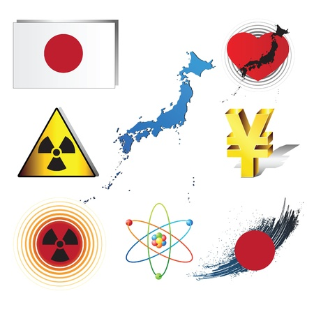 Set of concepts on catastrophe in Japan Vector