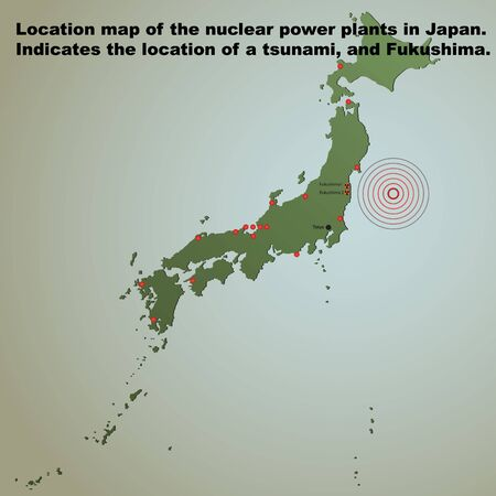 Location map of the nuclear power plants in Japan. Indicates the location of a tsunami, and Fukushima. Stock Vector - 9159096