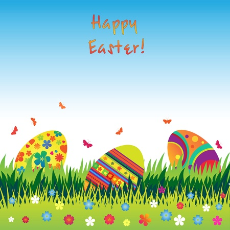 hollyday: Easter eggs in the grass with butterflies and flowers.