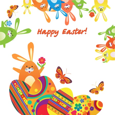 Easter illustration with the hare and eggs in the grass with butterflies and flowers and place for text.