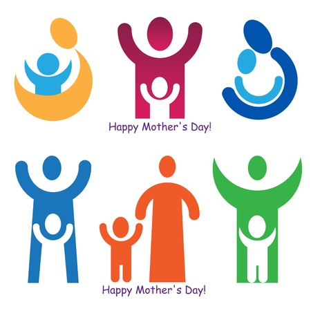 A set of signs and symbols for Mother's Day. Stock Vector - 9461004