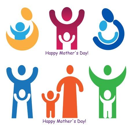 Zestaw znaków i symboli na Dzień Matki. Ilustracje wektorowe