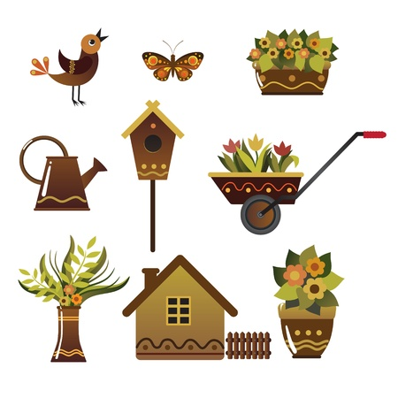cottage fence: Set of illustrations of characters for fans of the garden.