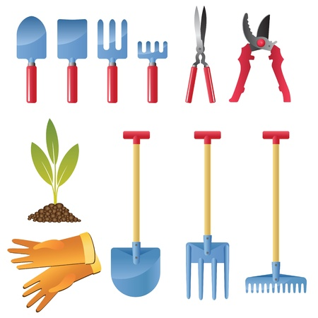 Icon set inventory and tools for garden care. Vector
