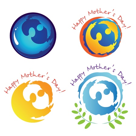 Set of signs and symbols for Mothers Day.