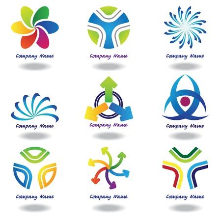 merken: Een set van abstracte geometrische vormen logos