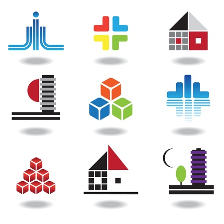 Set of characters on real estate and construction, design, geometric forms.  Vector