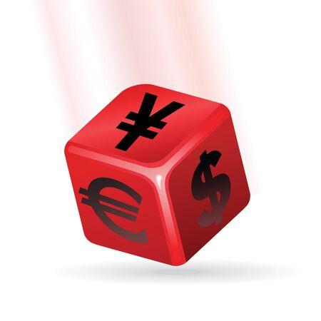 red cube: Cubo rosso con il simbolo di valuta.