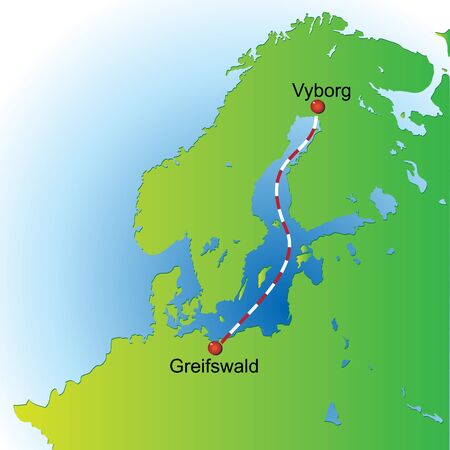 Map of the scheme a gas pipeline under the Baltic Sea. Vector