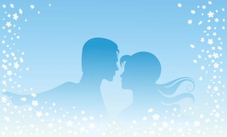 Then silhouette of lovers, men and women. Stock Vector - 9719255