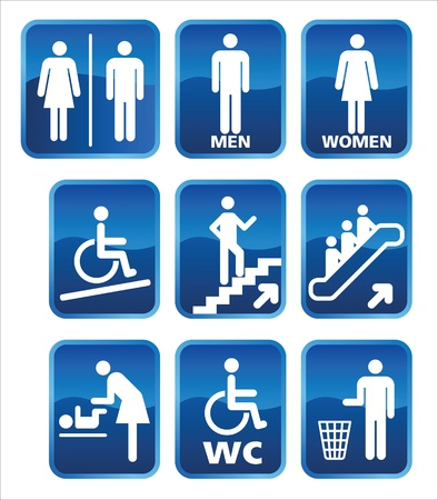 Set of icons for men women, for pointers toilets, rest rooms, women and children. Illustration