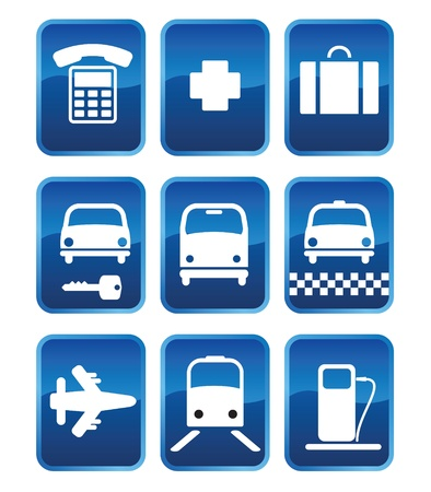 Set of icons and icons with symbols of transport (03) Stock Vector - 9719274