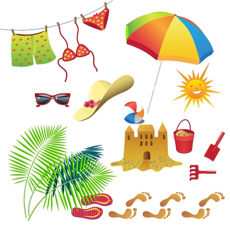 Set of items for recreation during the summer.  Vector