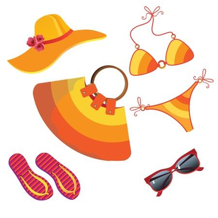 chapeau de paille: Ensemble pour les loisirs d'été pour les femmes. Illustration