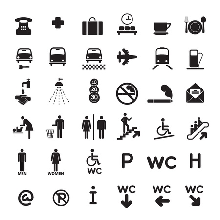 cleanliness: Set of 36 of black icons black.  Illustration