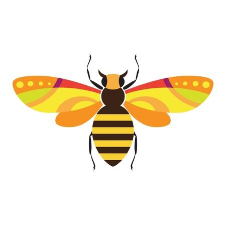 Decorativas imágenes estilizadas de los insectos - abejas Ilustración de vector