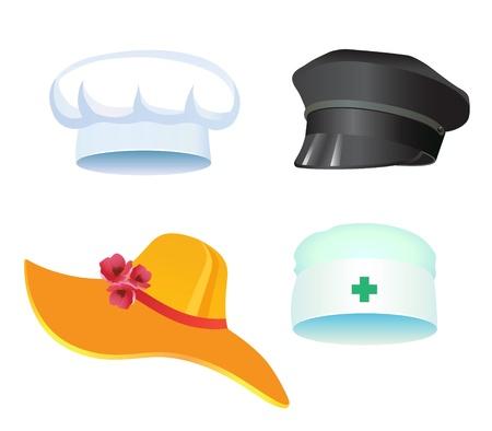 gorra policía: Conjunto de tres sombreros, médico, policía cocineros para vacaciones, marzo, Carnaval
