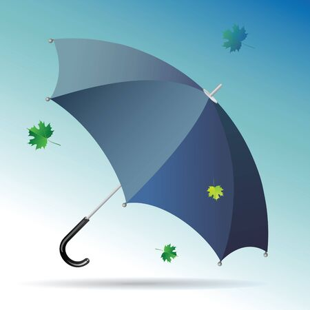 stormy sky: Black male umbrella against background of a stormy sky with flying leaves