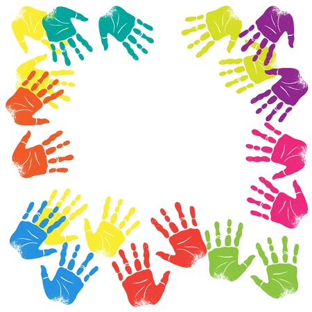 Illustration with place for text with prints of childrens hands. Vector
